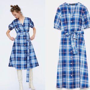 Zara Taffeta Plaid Dress